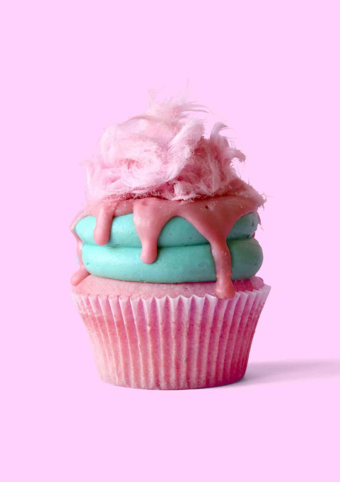 Bubble Gum Fairy Floss Cupcakes