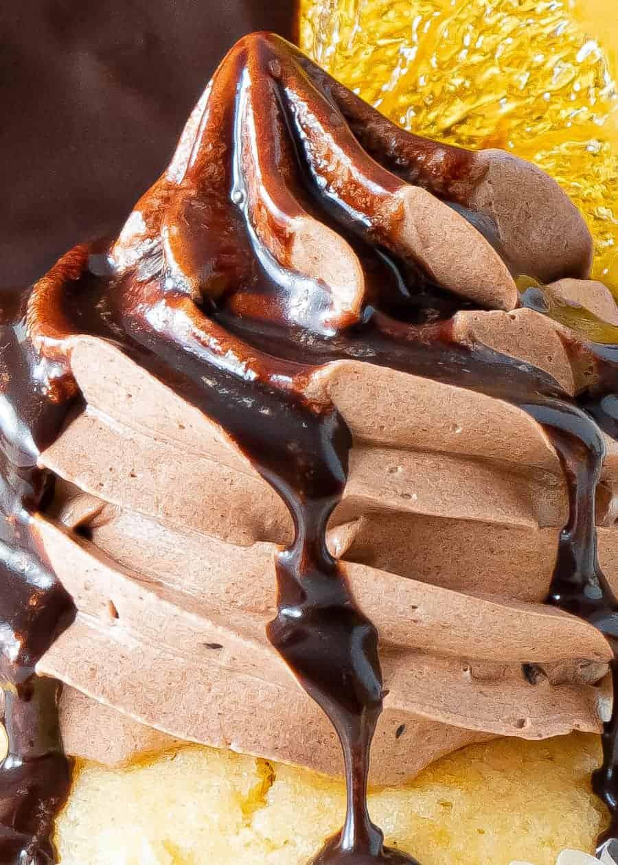 Close up of chocolate orange cupcake