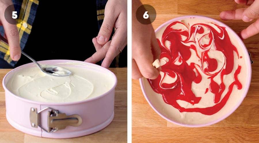 Swirling raspberry in Eton Mess Cheesecake