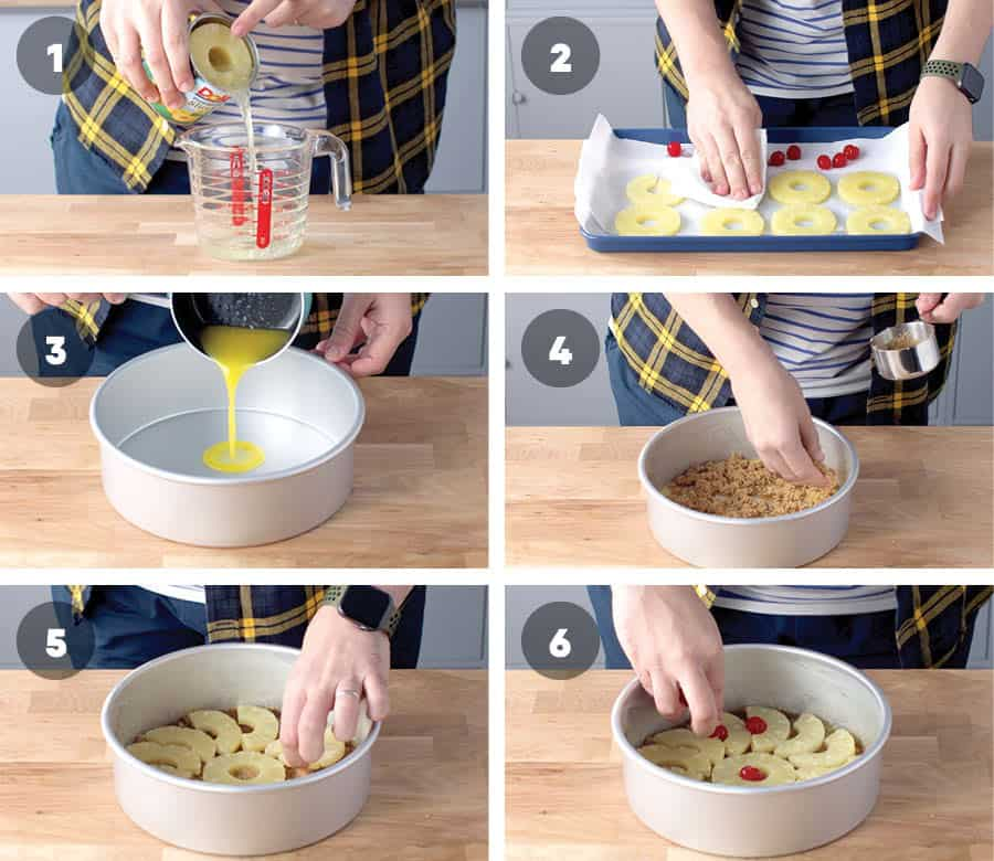 Topping instructions for Pineapple Upside Down Cake