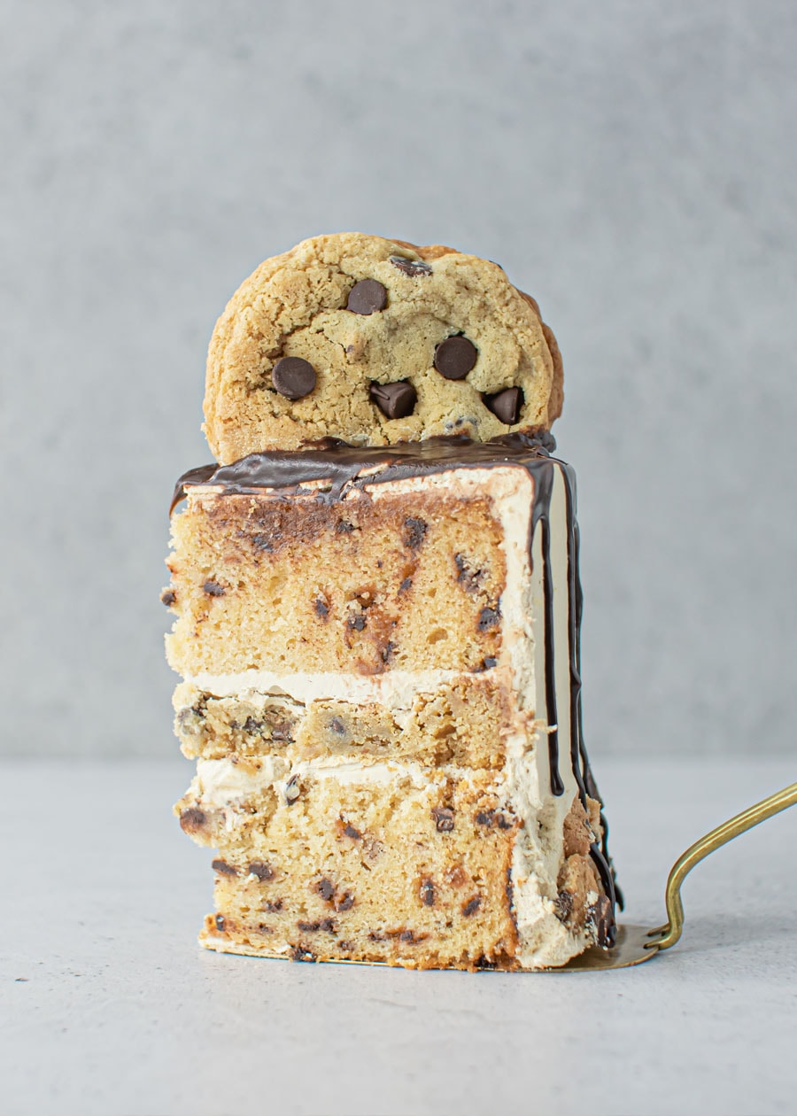 Slice of Cookie Dough Cake