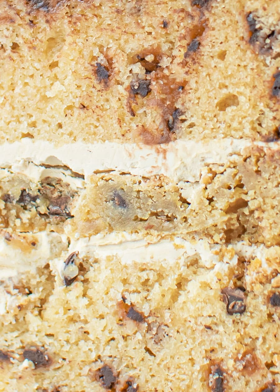 Close up of a slice of Slice of Cookie Dough Cake