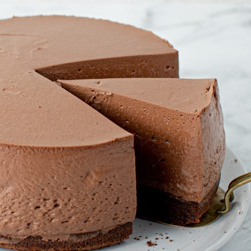 Chocolate Mousse Cake with slice taken out