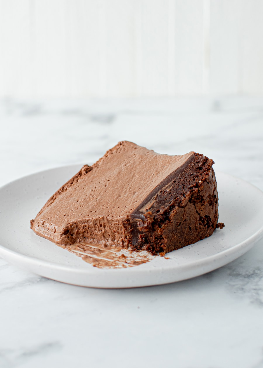 Chocolate Mousse Cake slice on a plate
