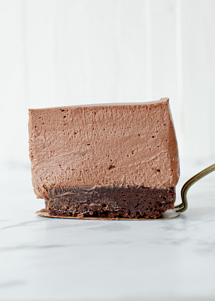 Chocolate Mousse Cake slice standing up