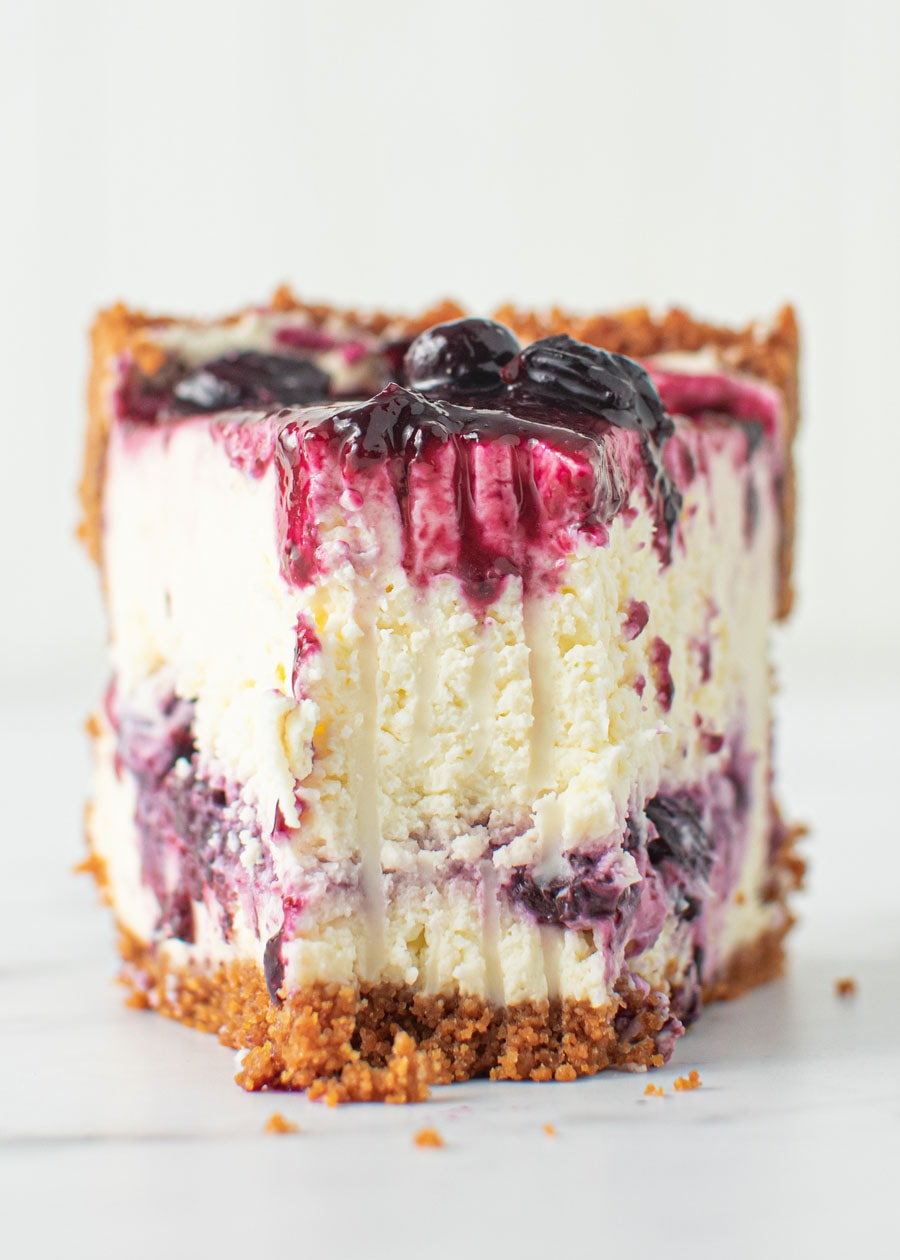 Front on shot of Blueberry Cheesecke