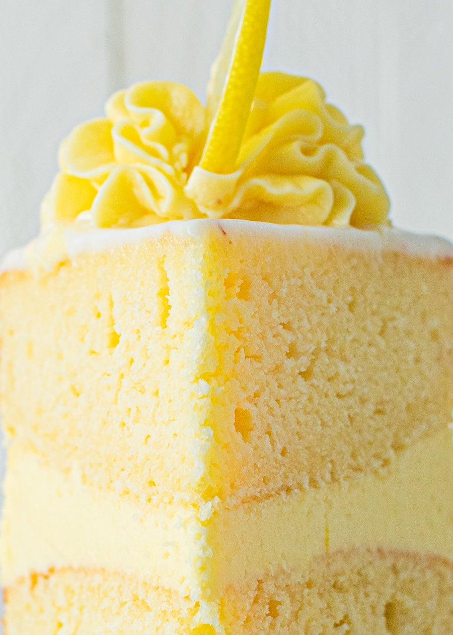 Front on shot of a slice of Lemon Sponge Cake