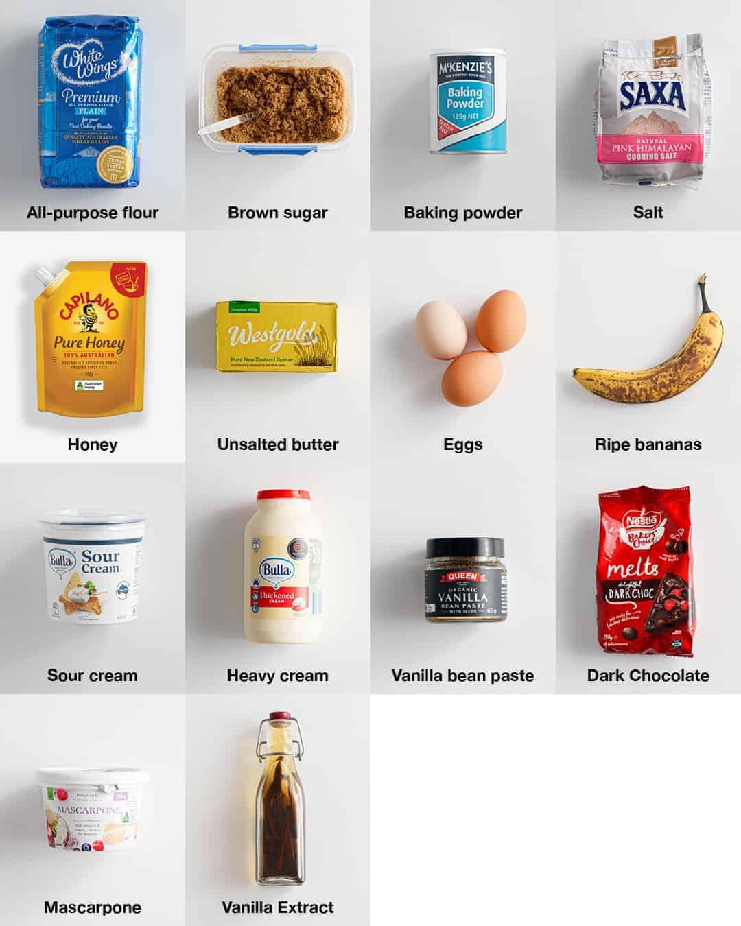 Ingredients photo for Honey Banoffee Sheet Cake