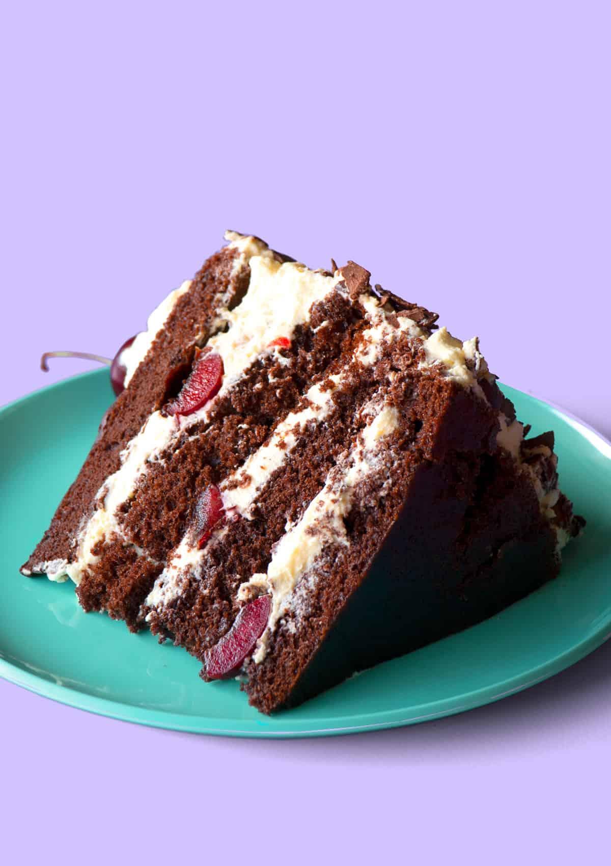 Wide Shot of a slice of black forest cake