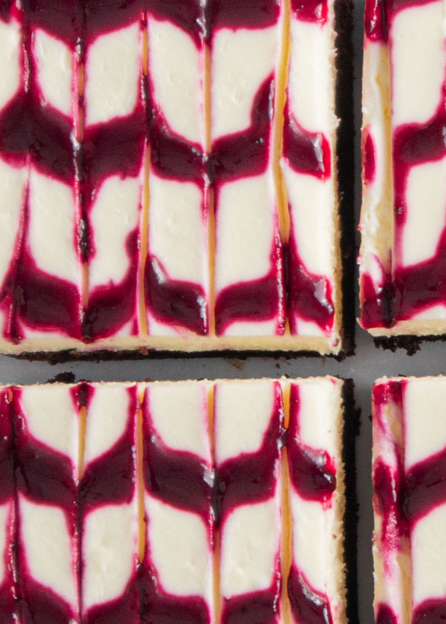 Top down shot for Blackberry Cheesecake Bars.
