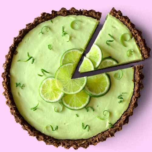 Top Down Shot Of Coconut & Lime Tart.