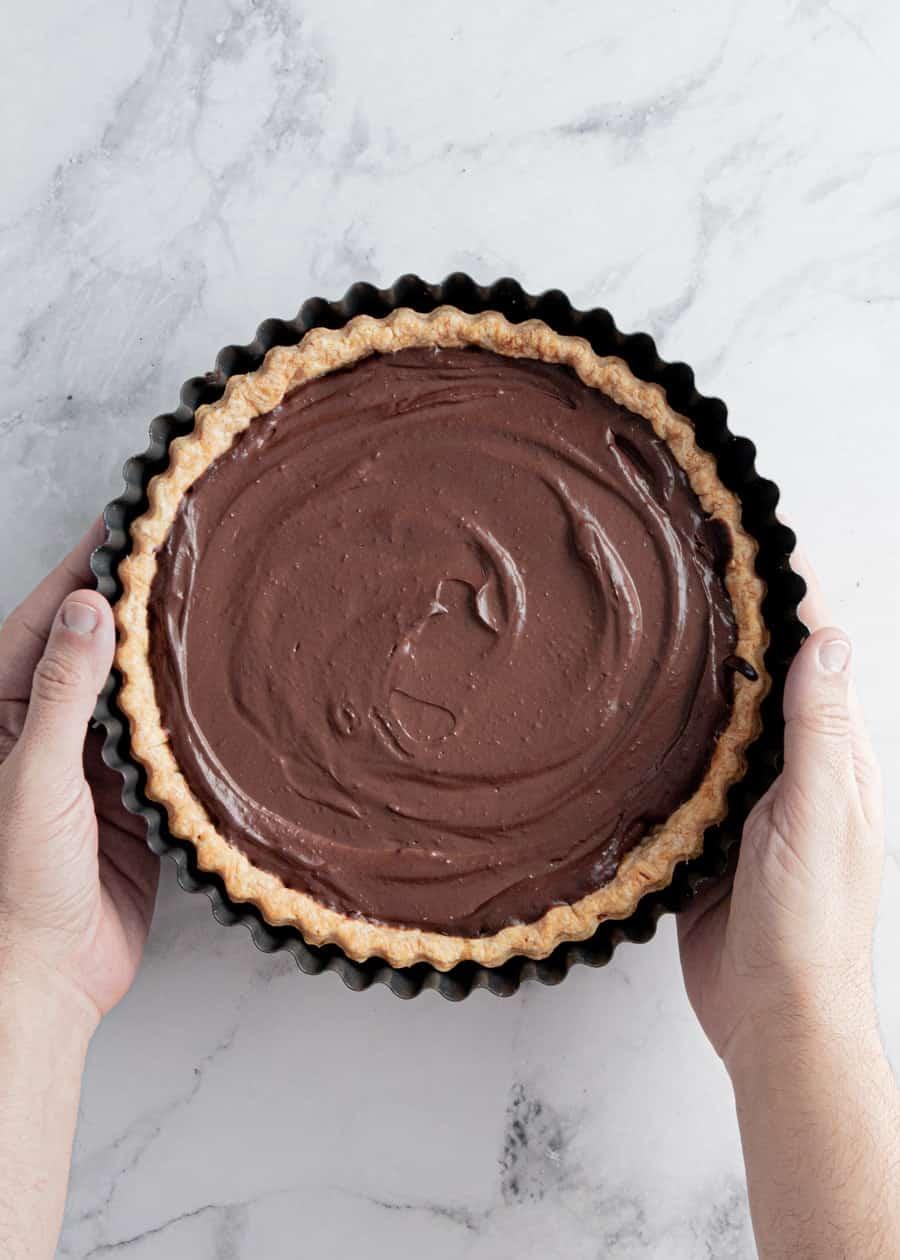 Top down shot of bare Indulgent Chocolate Pudding Pie