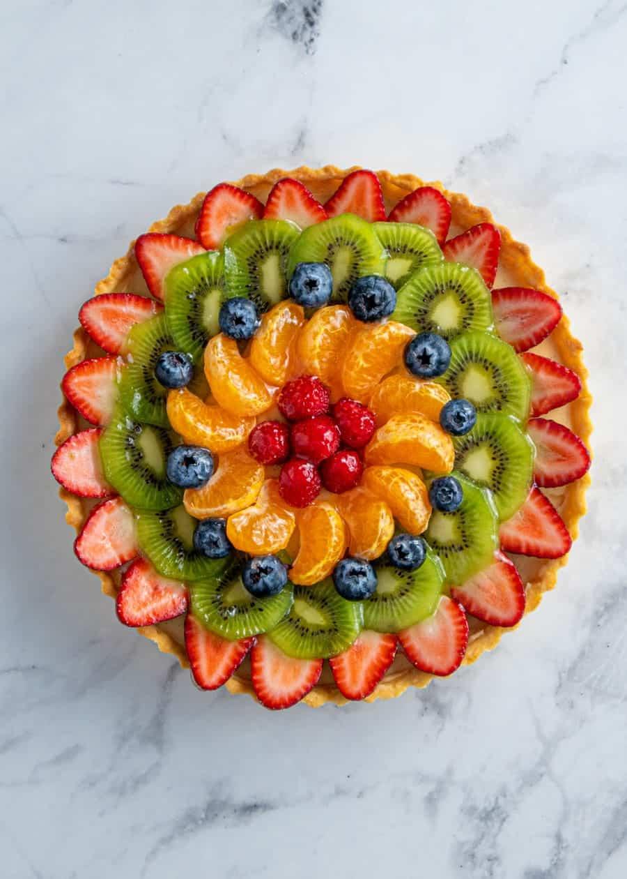 Top down shot of French Fruit Tart