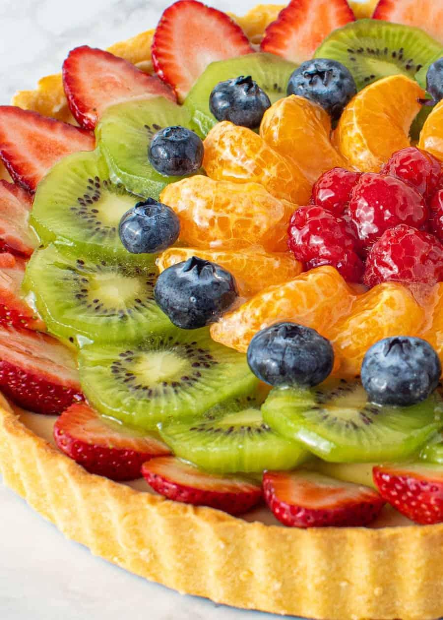 Close up shot of french Fruit Tart.