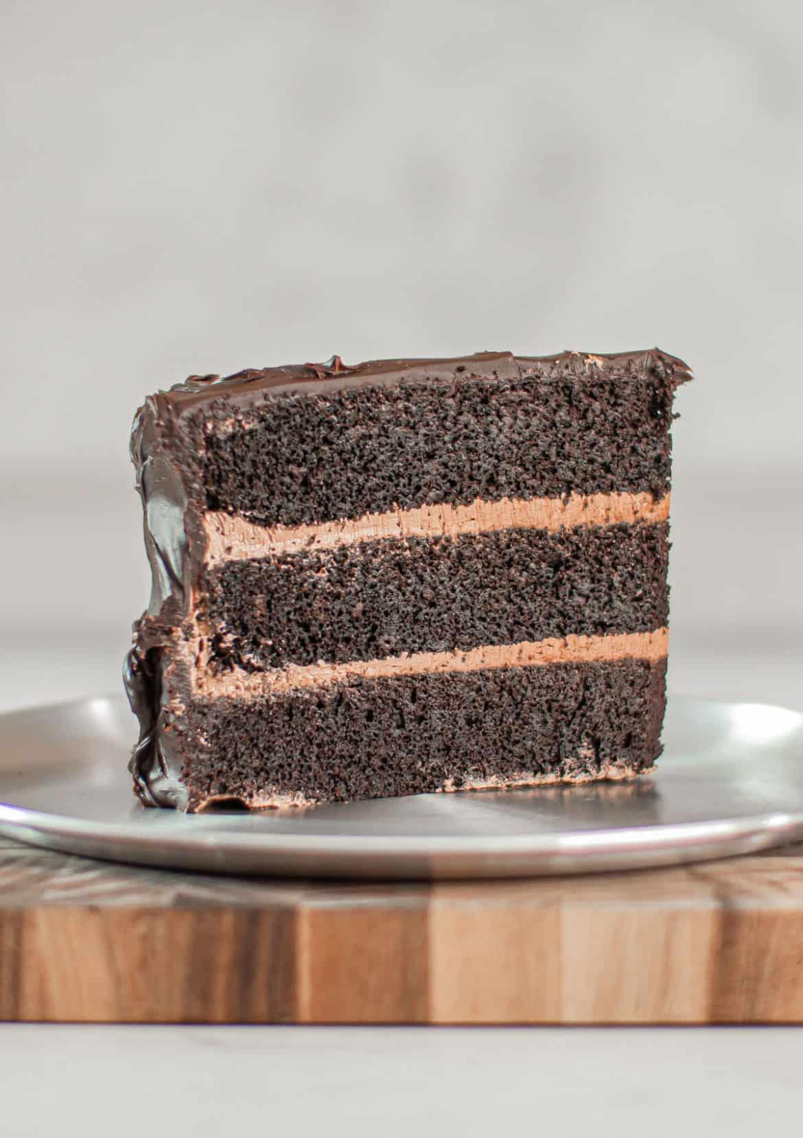 Side shot of a slice of Giant Matilda Cake