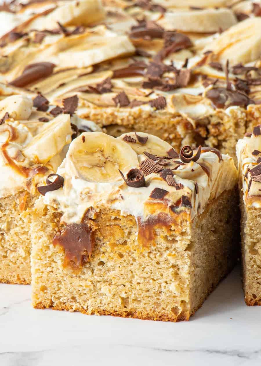 Close up shot of Front shot of Honey Banoffee Sheet Cake