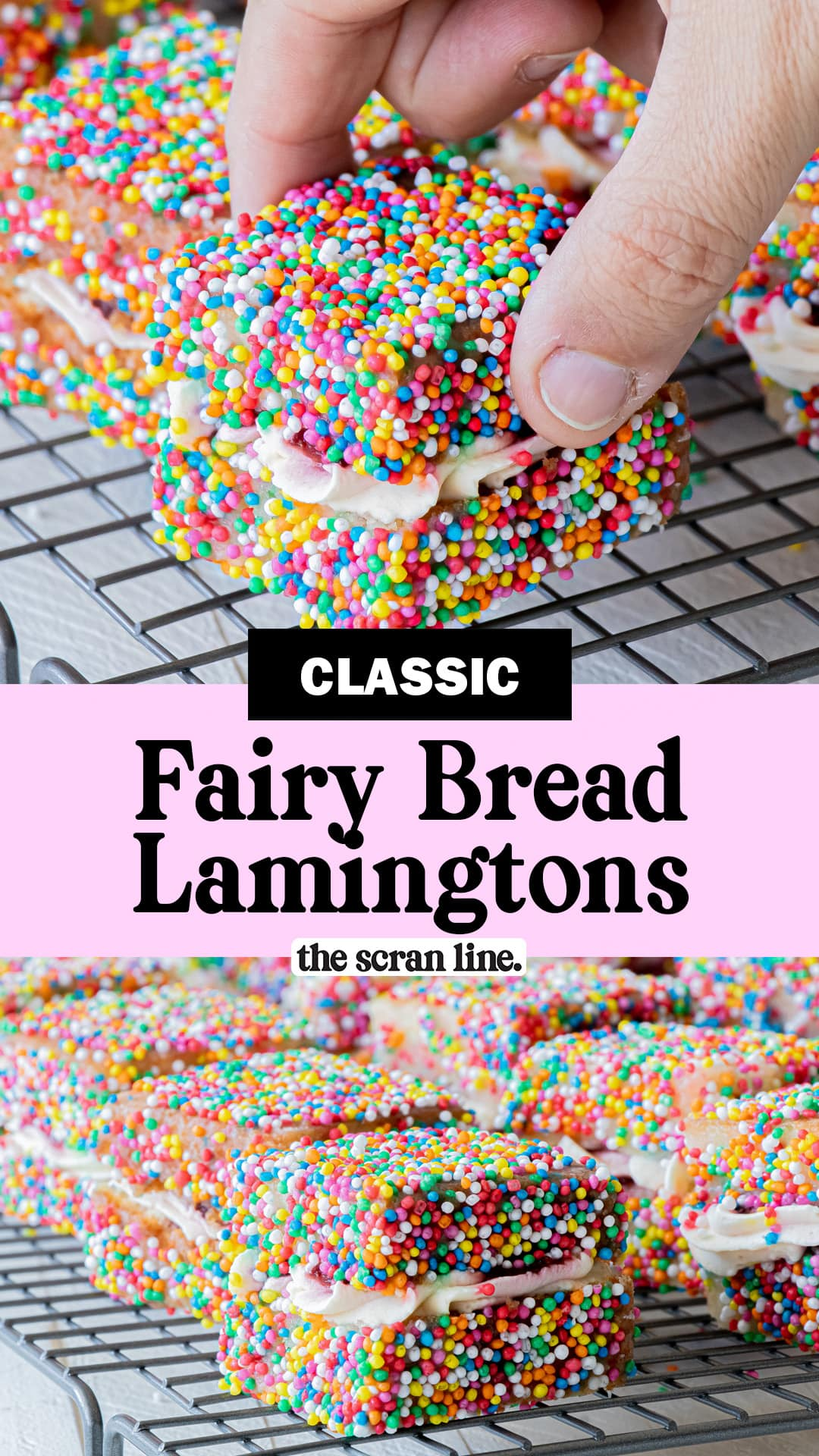 Pinterest image for Fairy Bread Lamingtons