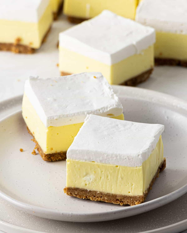 Top down shot of Fluffy Lemon Mallow Slice