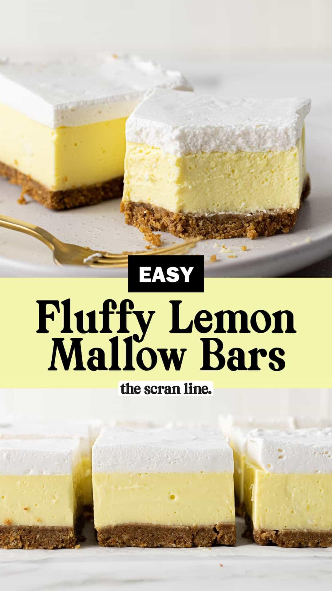 Pinterest image for Fluffy Lemon Mallow Slice