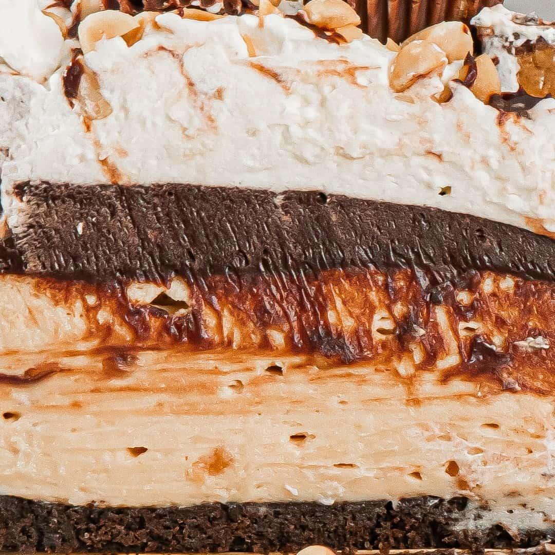 Close up shot of Chocolate Peanut Butter Pie.
