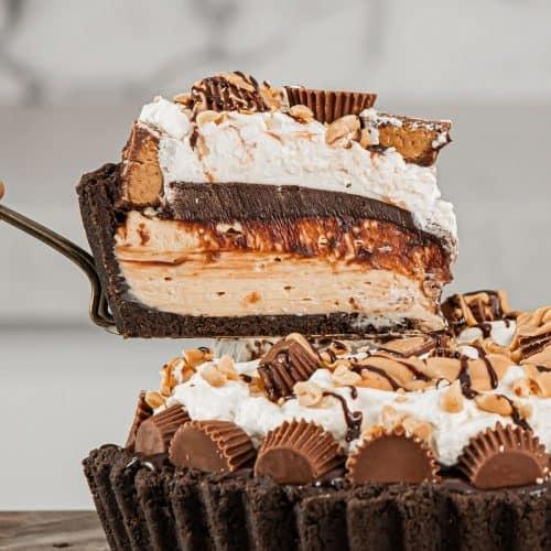 Slice of No-Bake Chocolate Peanut Butter Pie