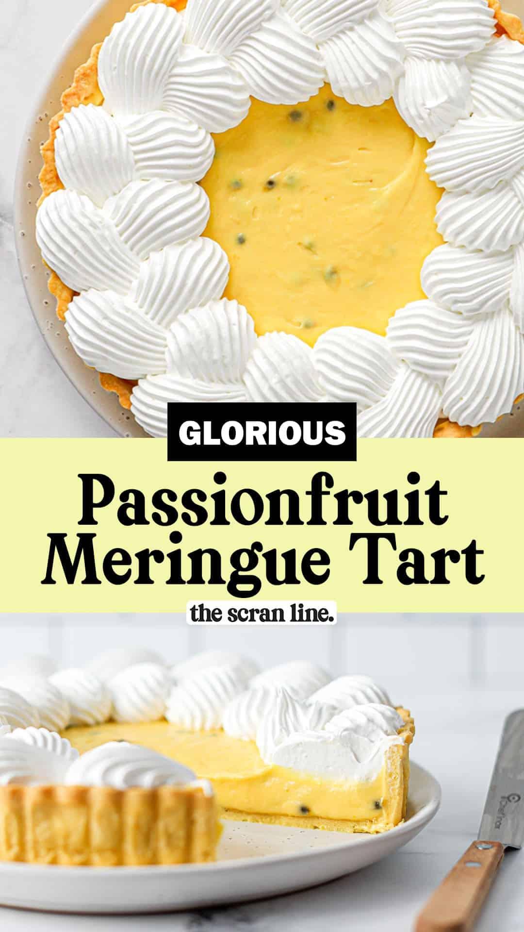 Pinterest image for Passionfruit Meringue Tart