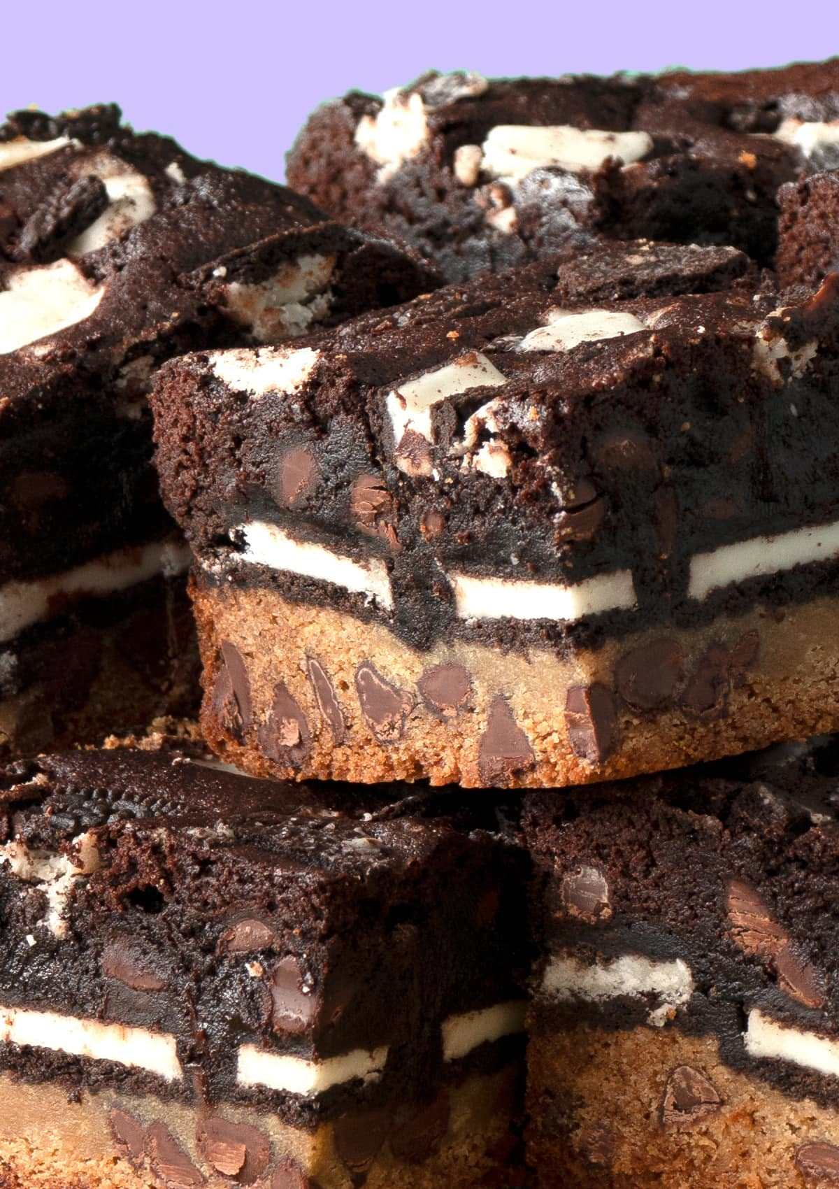 Close up shot of a stack of Slutty Brownies
