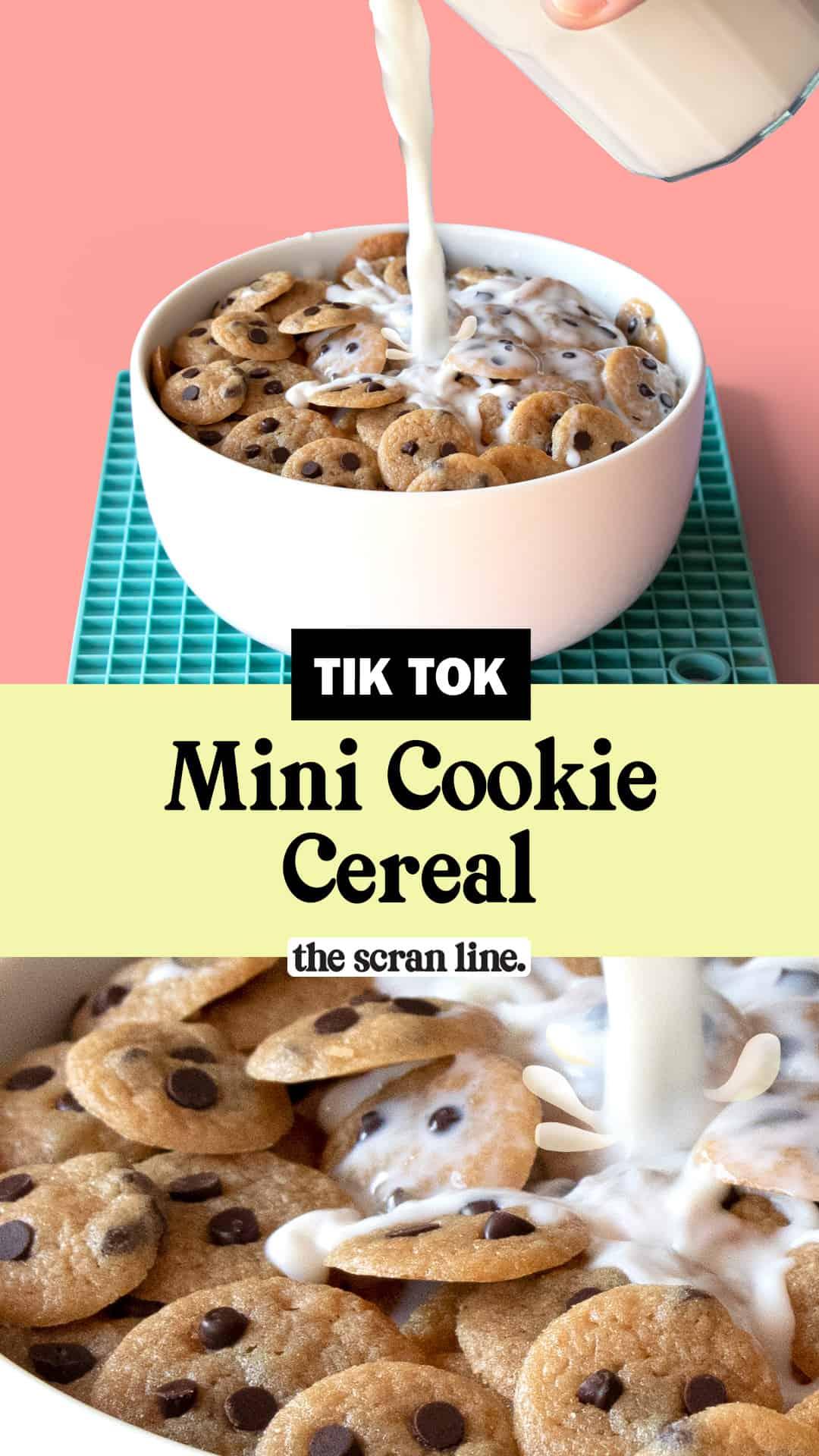 Pinterest image for Tik Tok Mini Cookie Cereal.