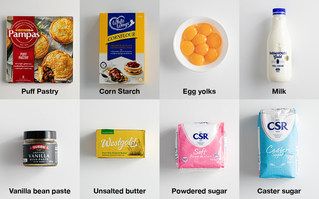 Ingredients image for Classic Vanilla Slice.