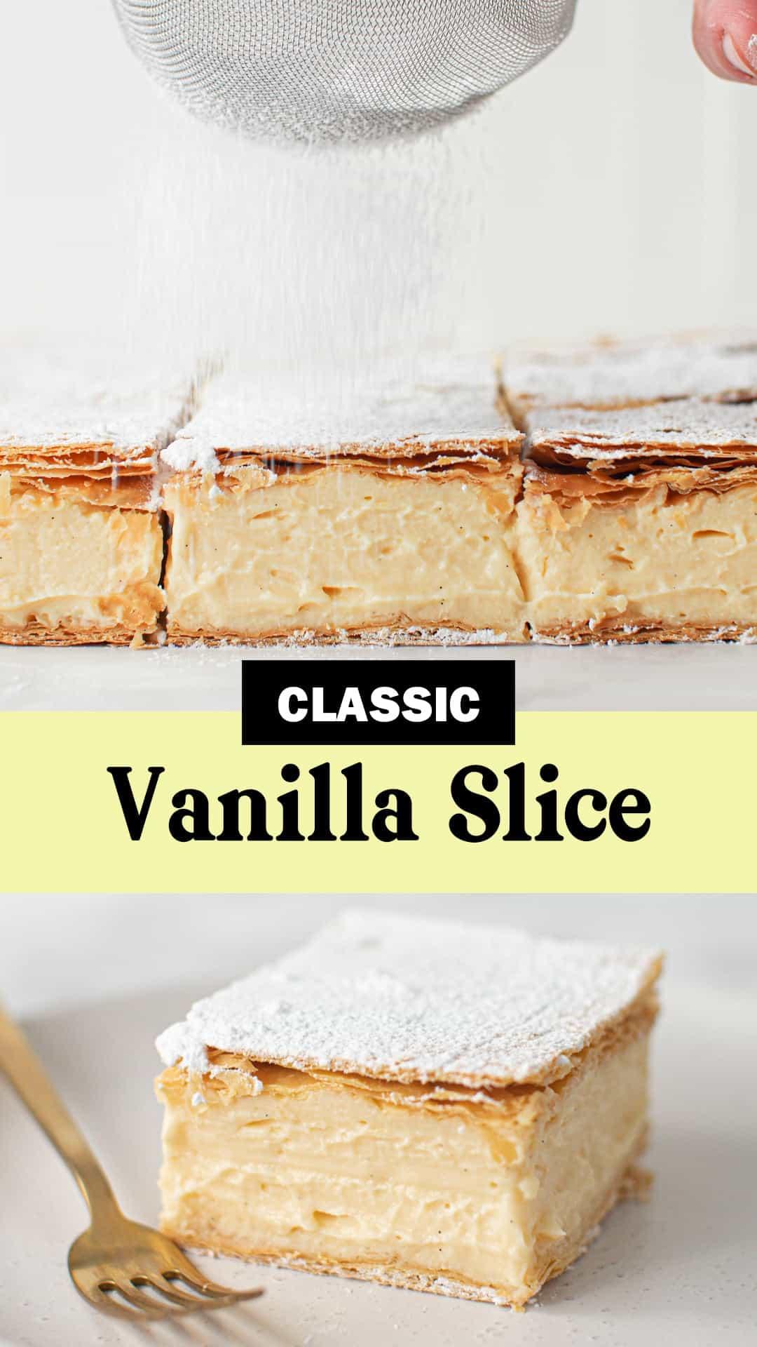Pinterest image for Classic Vanilla Slice. 02