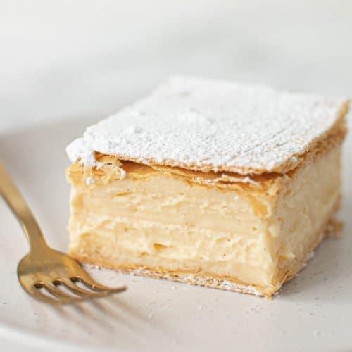 Neatly sliced Classic Vanilla Slice.