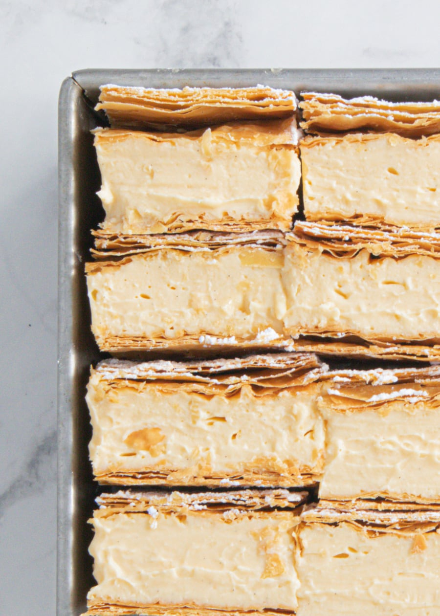 Top down shot of Classic Vanilla Slice in tin.