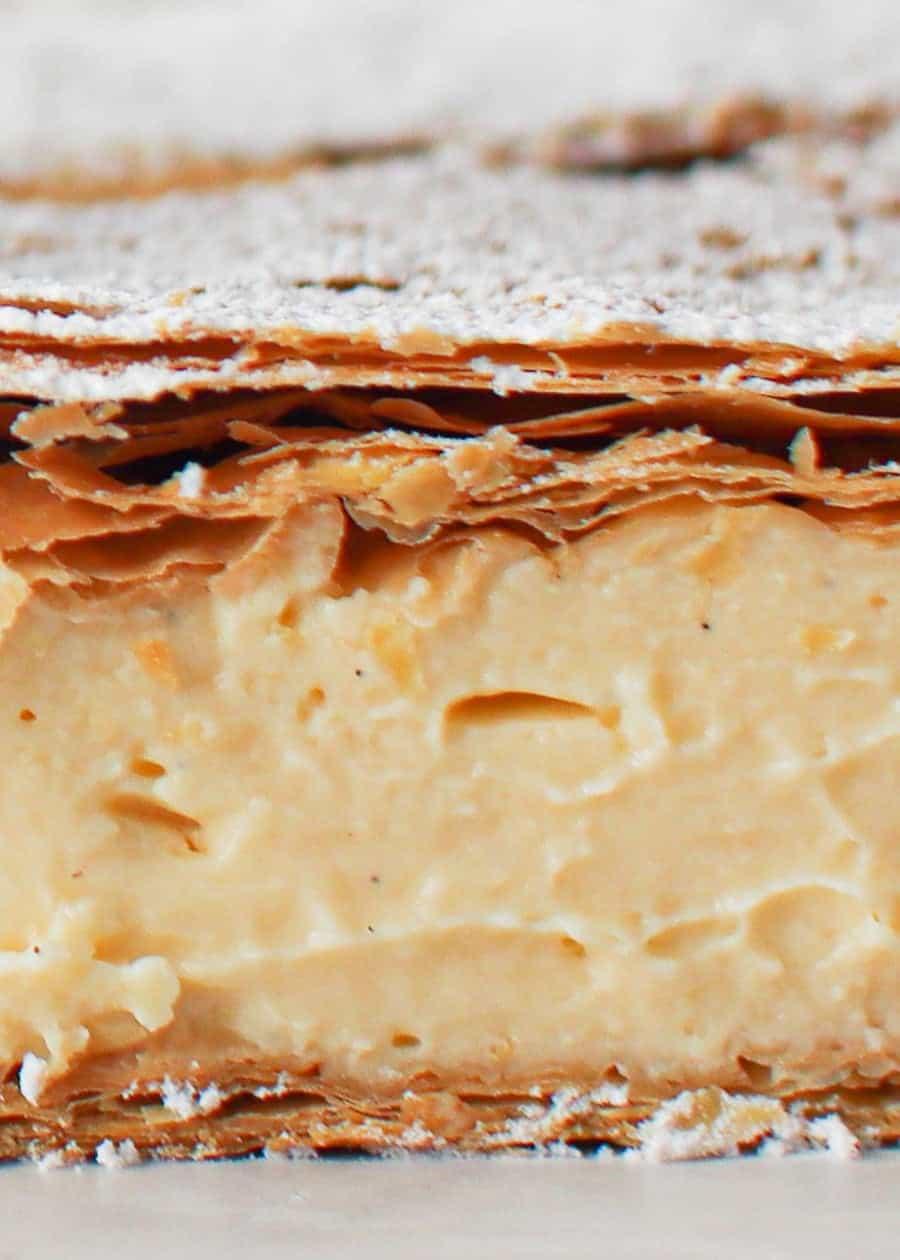 Close up shot of Classic Vanilla Slice.