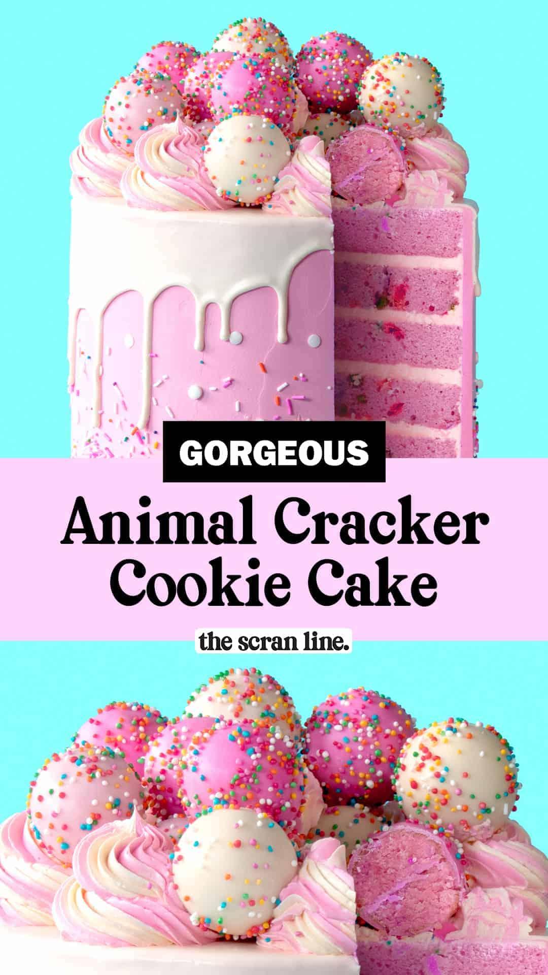Pinterest Image For Animal Cracker Cookie Cake