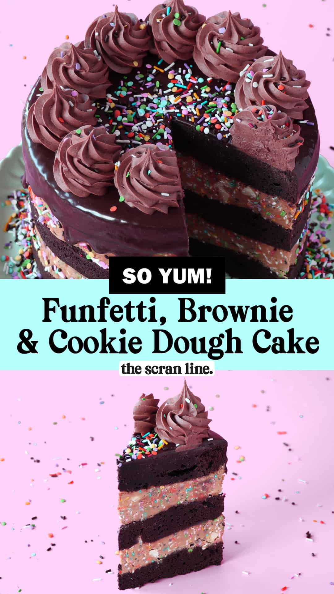 Pinterest Image For Funfetti Brownie & Cookie Dough Cake