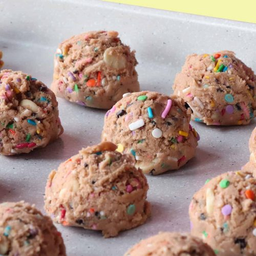 Tray of Funfetti Cookie Dough Truffles