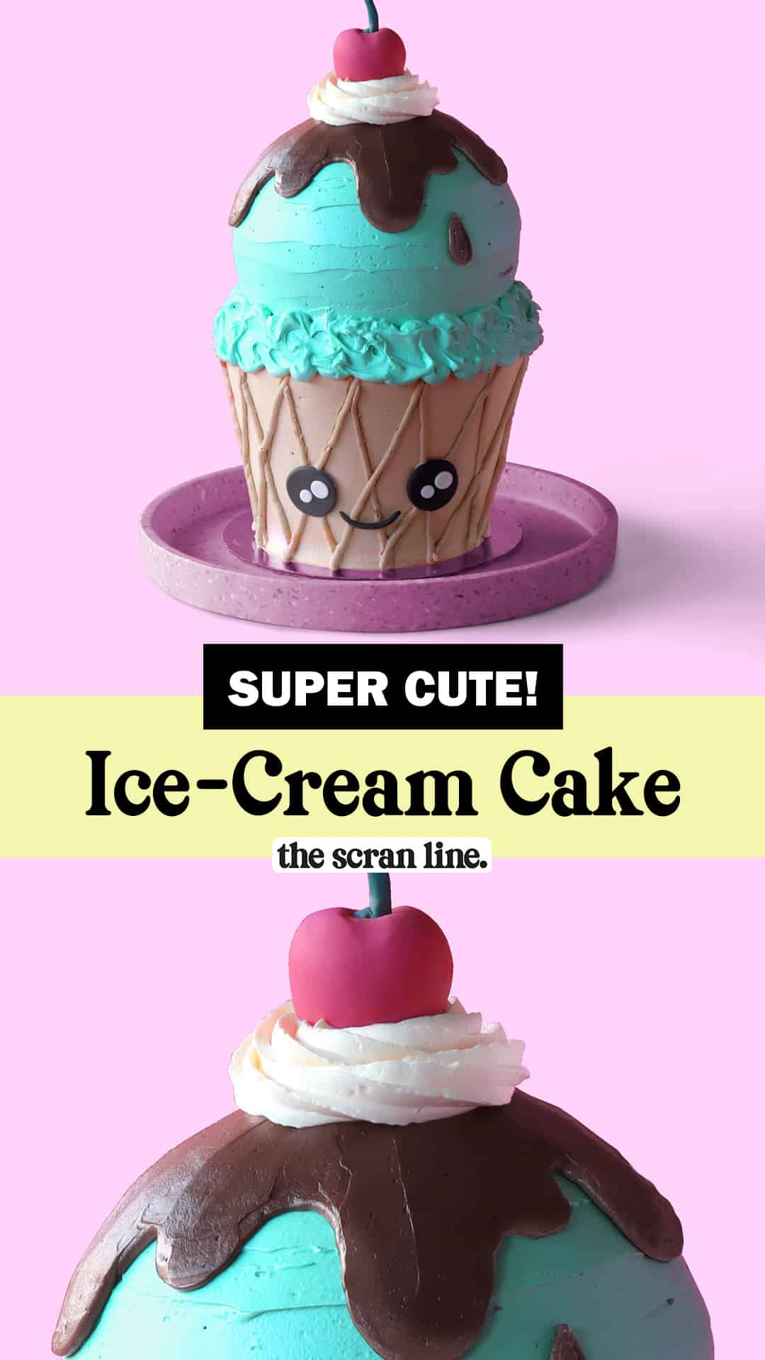 Pinterest Image For Kawaii Ice-Cream Cake