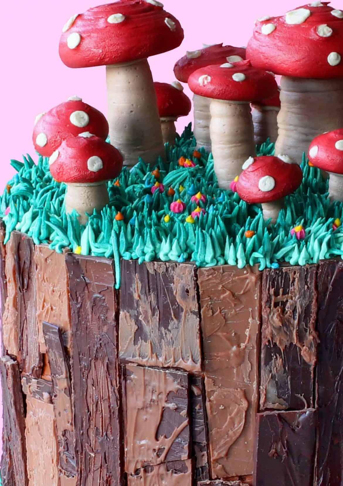 Close up of buttercream decorations on Magic Mushroom Cake