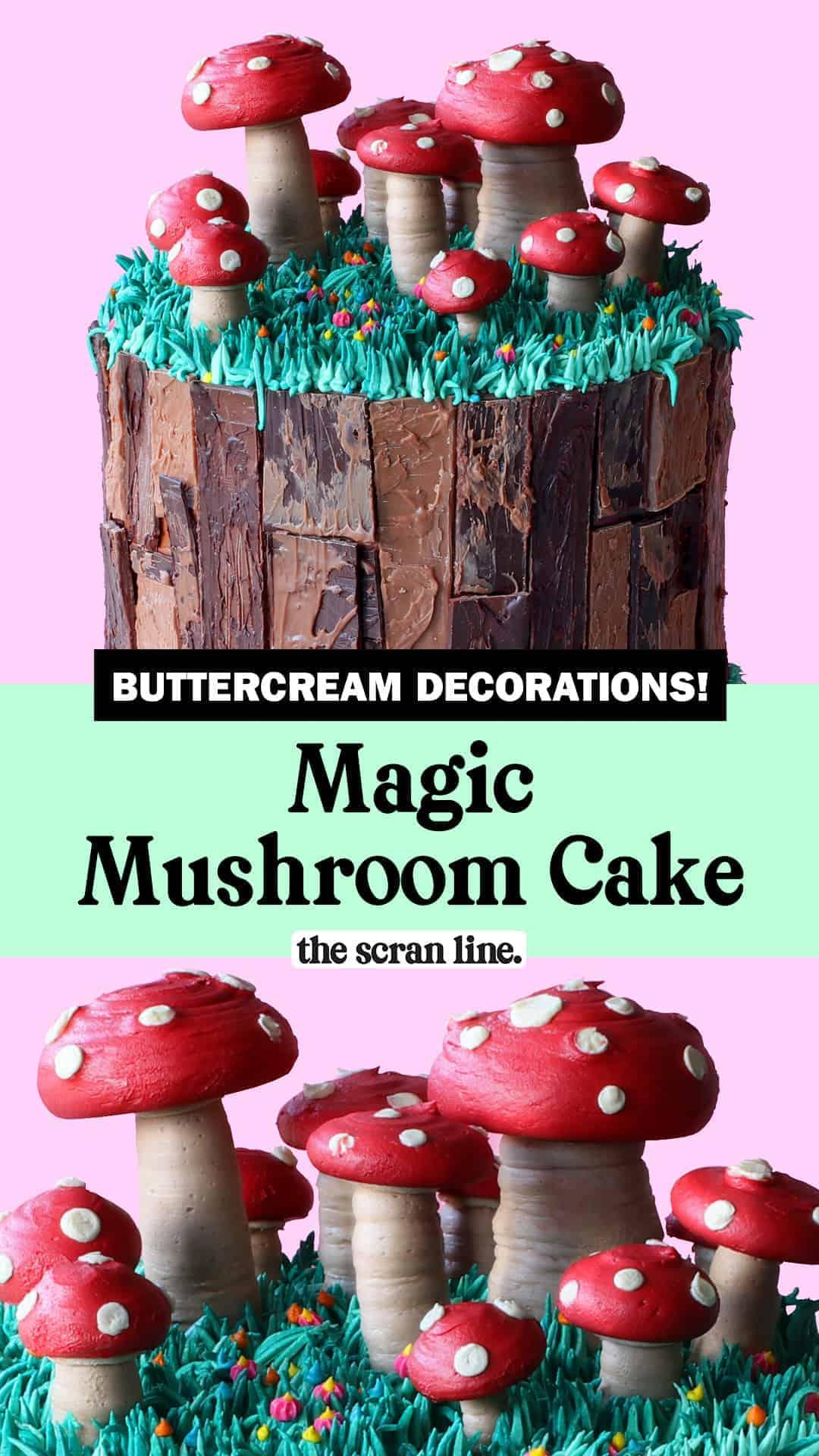 Pinterest Image For Magic Mushroom Cake