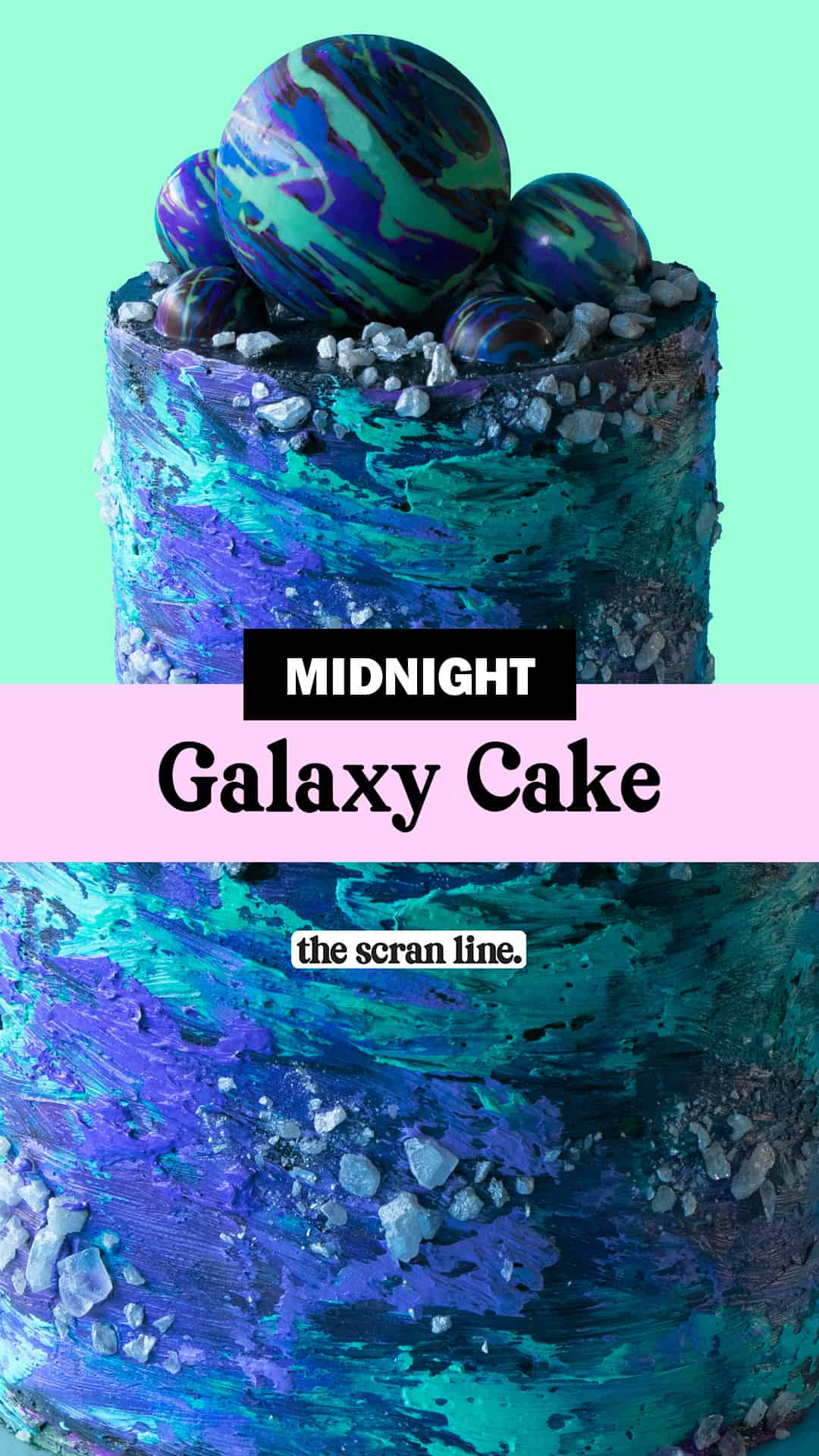 Pinterest Image For Midnight Galaxy Cake