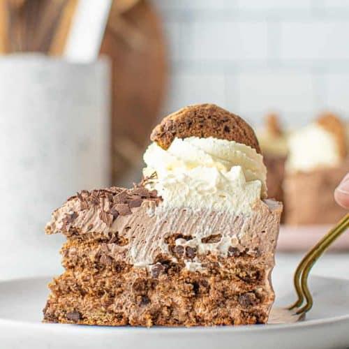 Slice of No-Bake Mocha Cake