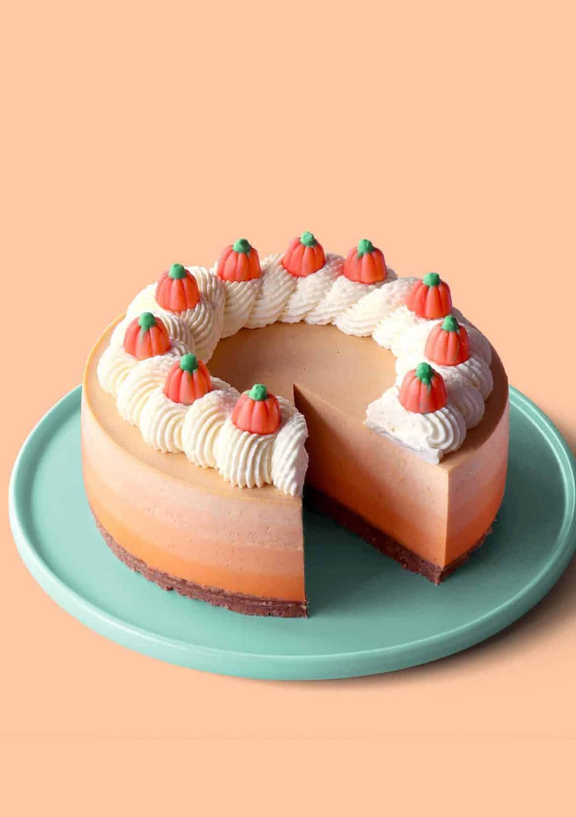 No-Bake Ombre Pumpkin Cheesecake