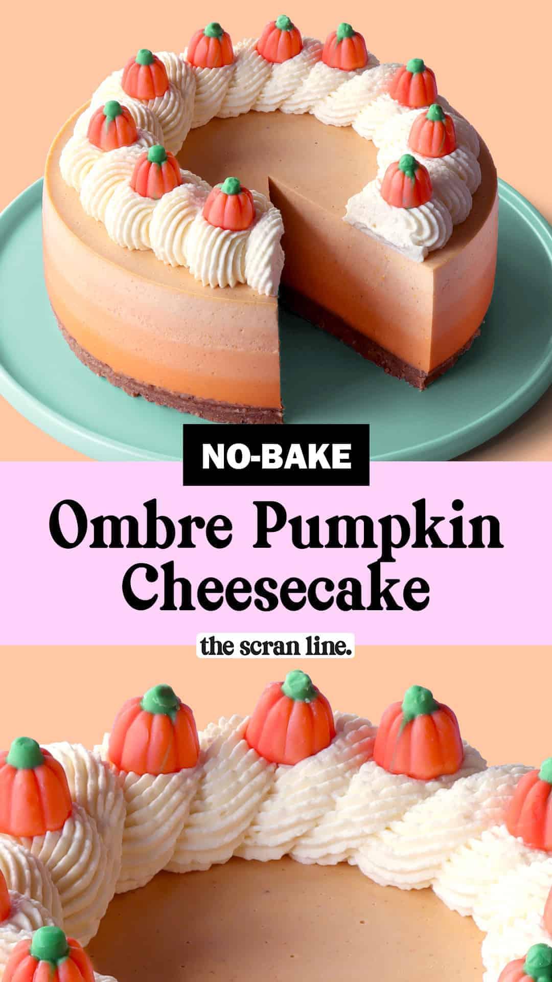 Pinterest Image For No-Bake Ombre Pumpkin Cheesecake