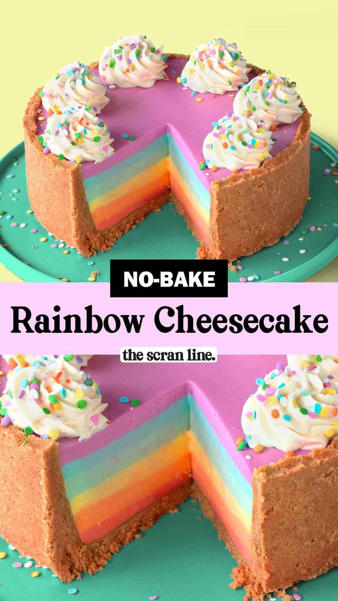 Pinterest Image For No-Bake Rainbow Cheesecake