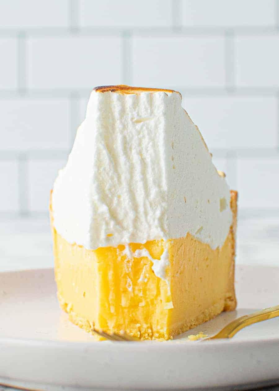 Front on shot of a slice of Perfect Lemon Meringue Pie