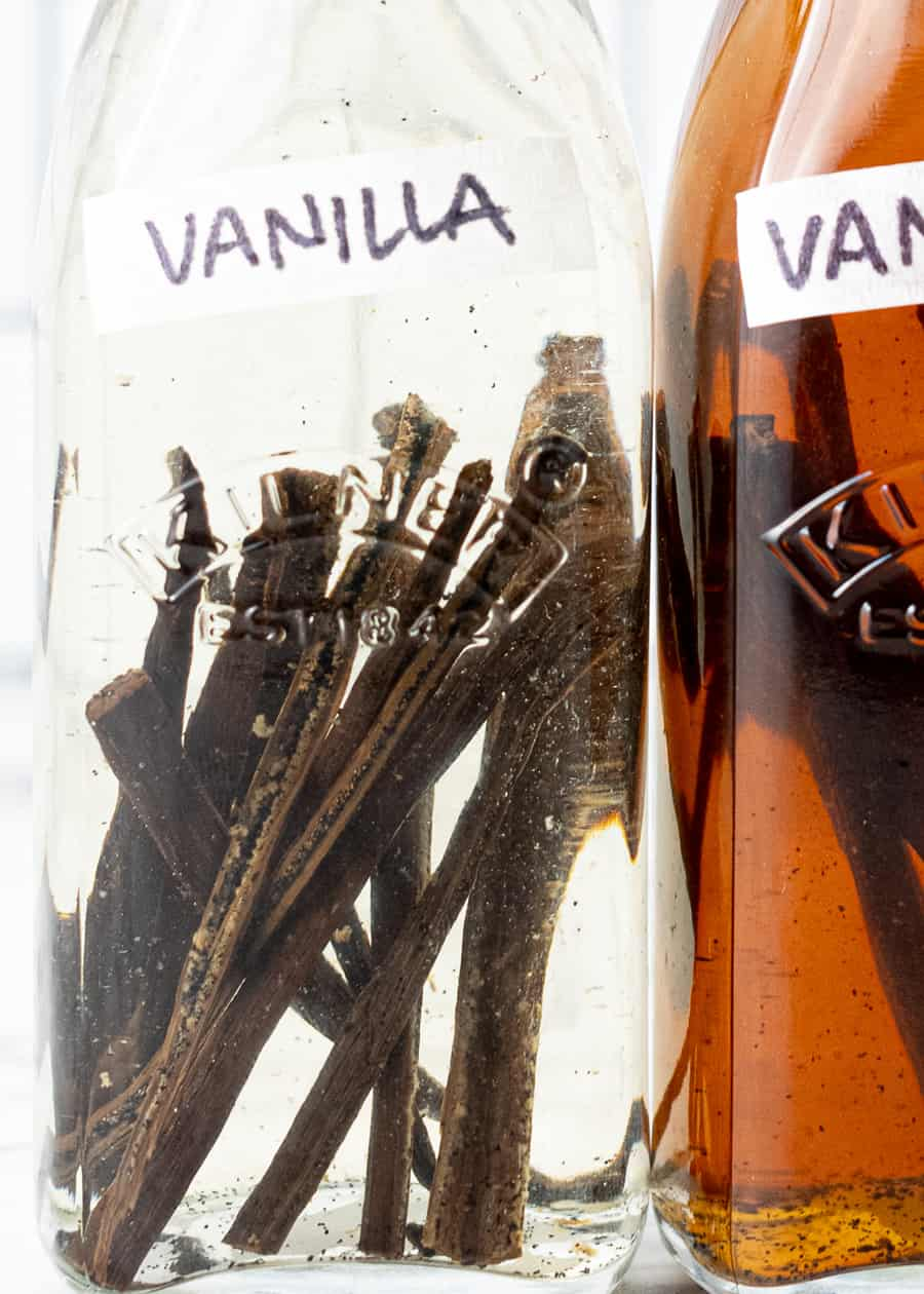 Extreme close up of Pure Vanilla Extract bottles