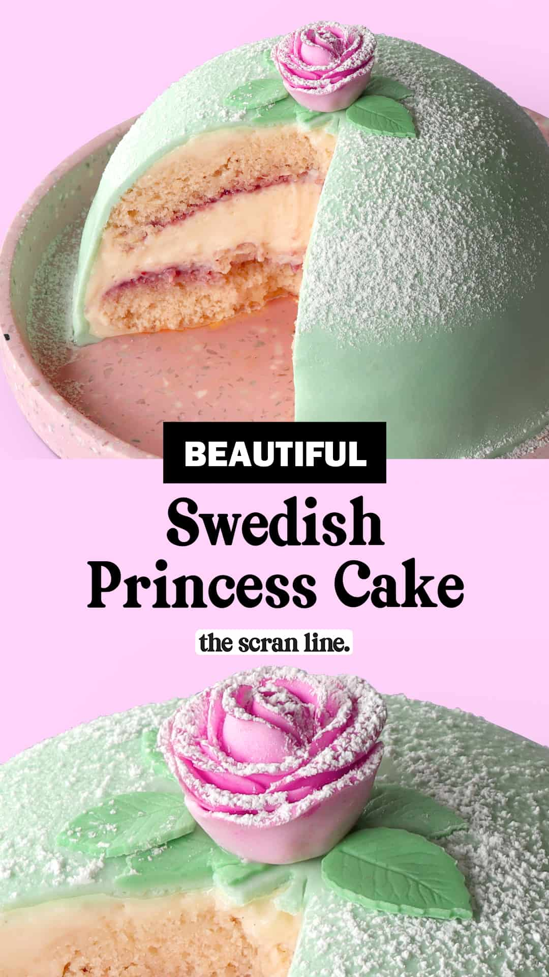 Pinterest Image For Swedish Princess Cake