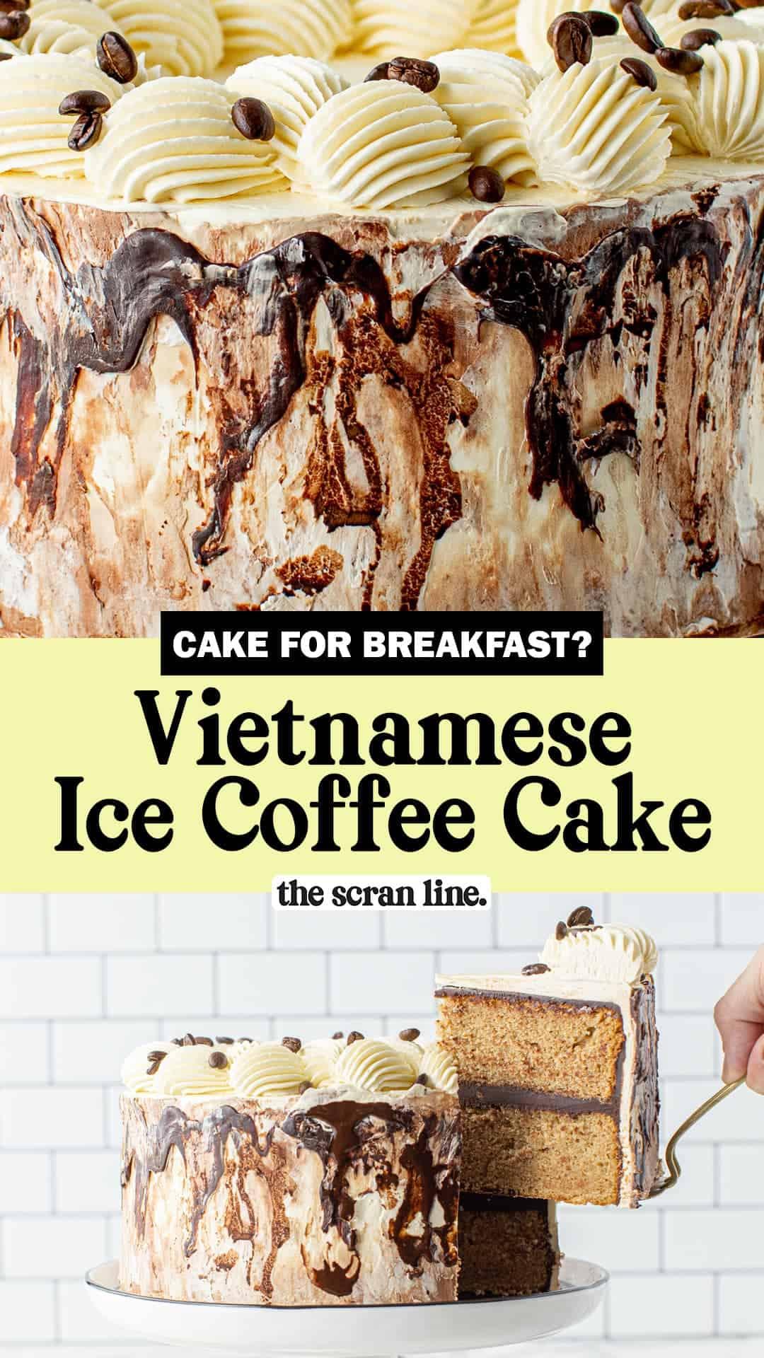 Pinterest image for Vietnamese Ice Coffee Cake