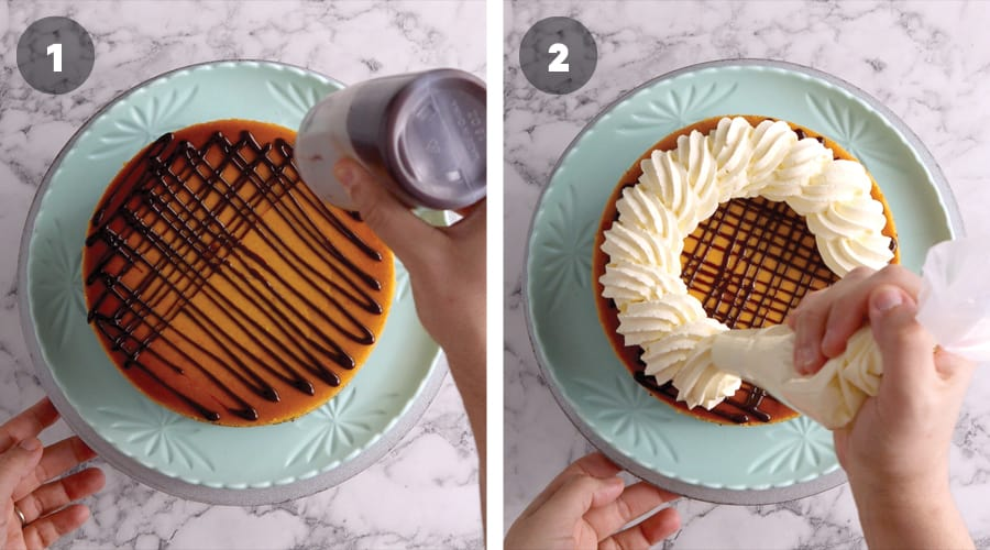 Instructional image for Chocolate And Pumpkin Cheesecake 08