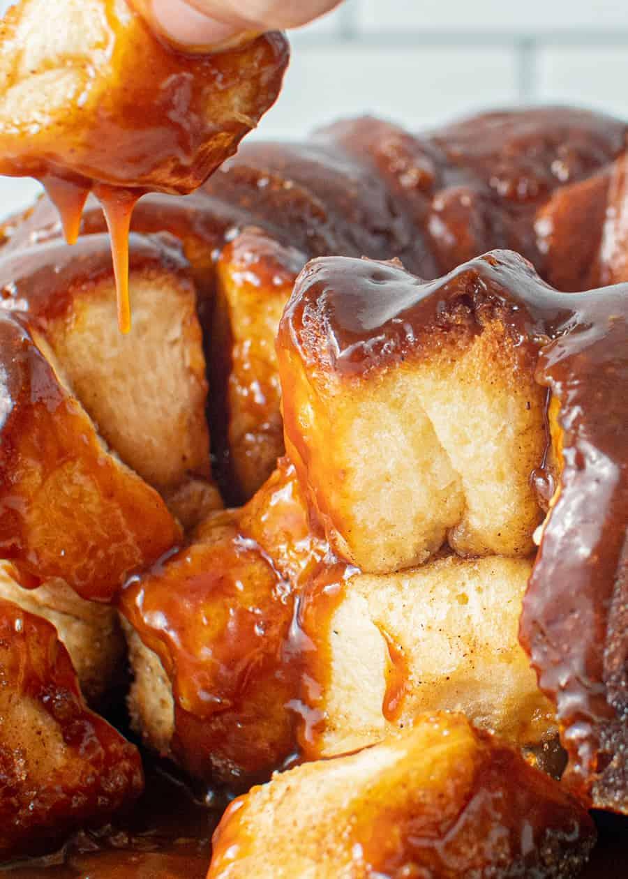 Close up of open Caramel Monkey Bread